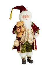 "Santa Claus Standing Figure Gold Burgundy Christmas Window Display 16"" Lg Doll"