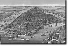 MAP OF NEW YORK FROM 1886 - HISTORIC OLD VINTAGE PHOTO PRINT POSTER AMERICA USA