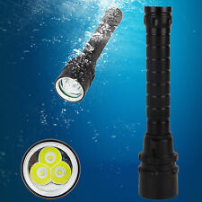 Bright 9000LM 3X XM-L T6 LED Waterproof Scuba Diving Flashlight Lamp Torch 18650