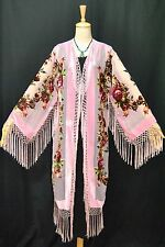 Art to Classic Baby Pink Flower Burnout Velvet Fringe Kimono Coat Duster Long