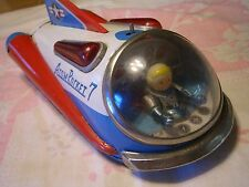 "WOW 1950's TIN LITHO 9"" BATTERY OP ATOM ROCKET 7 BY MODERN TOYS JAPAN, EX, READ!"