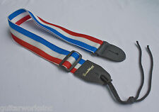 GUITAR STRAP AMERICAN RED WHITE BLUE STRIPE NYLON SOLID LEATHER ENDS MADE IN USA