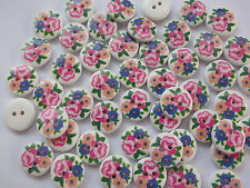 40 x FLOWER PAINTING 2 HOLE WOODEN 15mm BUTTONS, SCRAPBOOKING, CRAFT ETC.,
