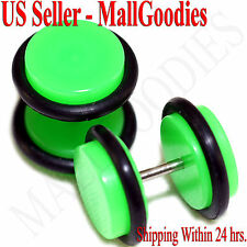 2040 Neon Lime Green Fake Cheater Illusion Faux Ear Plugs 16G - 00G = 10mm 2pcs