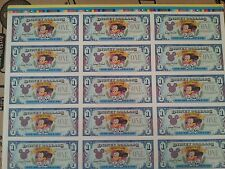 Disney Uncut Proof Sheet Dollars 65th Anniversary Mickey color bar limited ed