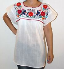 White Peasant Boho 100% Gauze Cotton Mexican Embroidered Blouse Top Large