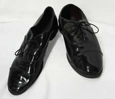 Size 9 Wide Mens Black Cap Toe Lace Up Oxfords Tuxedo Shoe Formal Wedding Prom