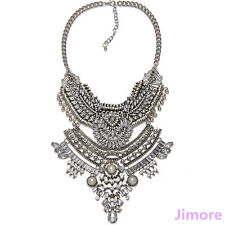 New Fashion Vintage Silver Gold Choker Crystal Rhinestone Big Statement Necklace