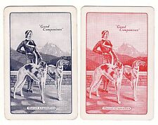 """VINTAGE """"TURRET"""" CIGARETTES LADY AND BORZOIS ADVERT  Pair of Swap/Playing Cards"""