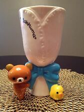 *Authentic* Brand New San-X Rilakkuma Kiirotori Large Blue White Big Bow VASE