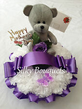 Mothers Day Silk Flower Teddy Wreath Ring Tribute Artificial Funeral Flower