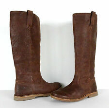 Frye Celia X Stitch Tall Leather Riding Boots Womens Size 9 9M Brown Distressed