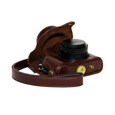 High Quality Camera bag Hard Leather Case Bag For Panasonic Lumix LX100 Coffee