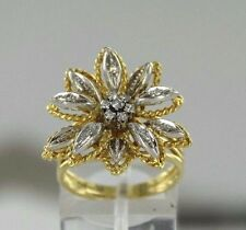 0.15 ctw SI1 G Diamonds 18k Two-Tone Gold Flower Design Ring Size 7 (8.2 grams)