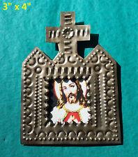 Bendicion Mexican Handmade Tin 3x4 Cross Picture Jesucristo Perpetuo Socorro