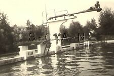 WWII German Large RP- Soldier- Semi Nude- Gay Interest- Pool- Diving Board- Dive