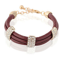 Coffee Brown PU Leather & White Rhinestones Wrap Charm Bracelet Bangle BB79