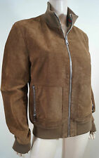 GUCCI Menswear Tan Leather Suede Red Green Stripe Casual Bomber Jacket Sz:50