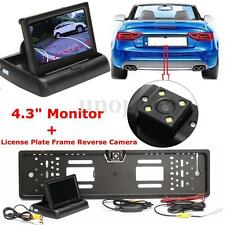 "4.3"" TFT LCD Monitor Screen + Car Wireless EU License Plate Reverse Rear Camera"