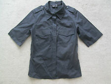 agnes b. Mandy Style Top Shirt Blouse Military Slim Fit Charcoal Grey 38 XS NWOT