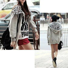 Korean Women Batwing Leopard Casual Hoodies Warm Coat Long Sweatshirt Grey