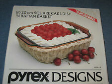 "Pyrex Designs 8"" Square Cake Dish in Rattan Basket NOS from 1988"