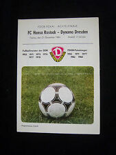 Orig.PRG   FDGB Pokal 1984/85   SG DYNAMO DRESDEN - FC HANSA ROSTOCK  1/8 FINALE