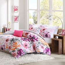 Queen / Full Size Teens Comforter Set Floral 5 Piece Bedding Reversible Pink