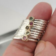 Hadar Designers Stack 9k Yellow Gold 925 Silver Tourmaline Ring any sz (I r416)Y