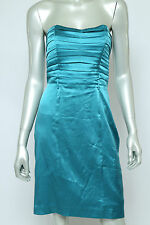 Betsey Johnson Silk Stretch Turquoise Pin Up Pleated Strapless Cocktail Dress 8