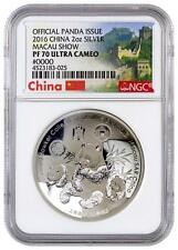 2016 China Silver 2 oz - Panda - Macau Show - High Relief - PF70 UC - NGC Coin