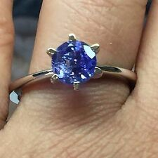 Natural AAA 1.2ct Tanzanite 925 Solid Sterling Silver Traditional Ring sz 9.25