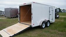 7x14 Enclosed Trailer Cargo V Nose Tandem Dual Axle Utility Motorcycle 12 16