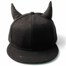 Women's Plain Black Snapback Cap with Horns & Green Under-Brim