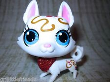 Littlest Pet Shop lot #3392 Fancy Swirl Sparkle Glitter White Husky Dog