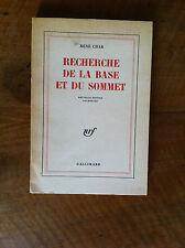 CHAR René - Recherche dela base et du sommet. - 1965 -
