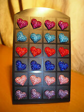 Joblot of 12 Pairs Heart shape Diamante stud Earrings - NEW Wholesale