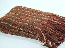 Kennebunk Home Stria Rust Hand Woven Acrylic Boucle Throw Blanket New