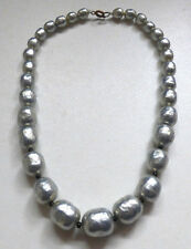 Vintage Art Deco Baroque Silver Glass Pearl Necklace