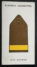 British 27th Division   B.E.F. &  Salonika  World War 1  Insignia Card # VGC