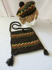 VTG HIPPIE HOBO HANDWOVEN KNIT BAG MULTI COLOR CIRCA 60'S MATCHING BEANIE HAT
