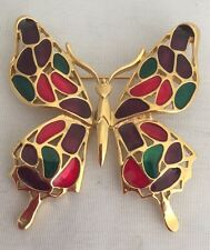 Trifari Butterfly Pin/Brooch Red/Purple/Green Stones/Glass Gold-Tone