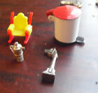 Lot of 4 Vintage Dollhouse Furniture Accessories Trach Can Rocking Chair Pot Oth
