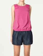 Zara fuchsia fluo rose chaud couleur bloc chemisier top shirt s small 8 4 36