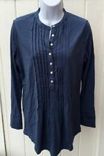 Ralph Lauren womens jeans co restella pleat tunic pintucked shirt top blue small
