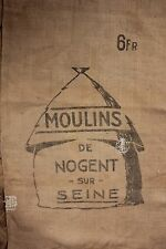 Vintage French Grain Sack bag burlap grainsack Hessian DOUBLE printed 2 panels