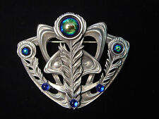 Silver Pewter 'PEACOCK EYE' Pin with Colored Stones