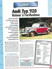 Audi  Type 920 1939  GERMANY DEUTSCHLAND ALLEMAGNE Car Auto FICHE FRANCE