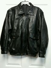 United States ARMY Leather Jacket zip up embroidered vintage bull men's sz med