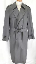 London Fog Trench Coat Mens 38L Gray Double Breasted Long Rain Zip Liner VTG USA